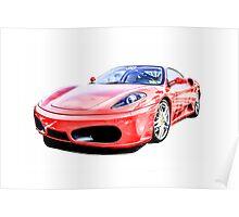 Red Ferrari F430 Italian Sports Car Poster