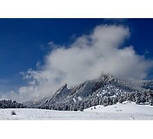 Flatirons In The Clouds Boulder Colorado Photographic Print