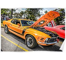 1974 Ford Mustang Boss 302 American Muscle Car Poster