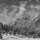 Rocky Mountain Dusting Of Snow Boulder Colorado BW by Bo Insogna