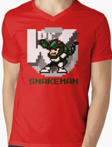 Snake Man with Green Text Mens V-Neck T-Shirt