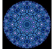 Flowers In Blue Kaleidoscope 01 Photographic Print