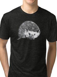 White Hedgehog Scratchboard Tri-blend T-Shirt