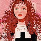 Girl with long red curly hair by Erminia