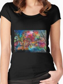 CHANSON DE ROLAND/ COMBAT OF KNIGHTS HORSEBACK IN TOURNMENT Women's Fitted Scoop T-Shirt