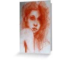 ROMANTIC BEAUTY / Woman Portrait in Sepia Brown Greeting Card