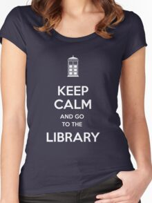 Keep calm and go to the library shirt Women's Fitted Scoop T-Shirt