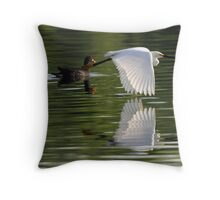 Reflections of a snowy egret in flight ! Throw Pillow