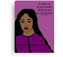 Transform Your Trouble - woman in purple Canvas Print