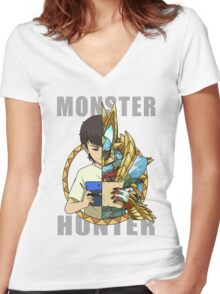 Hunter's Life (Zinogre) Women's Fitted V-Neck T-Shirt