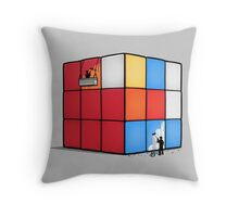 Solving the cube Throw Pillow