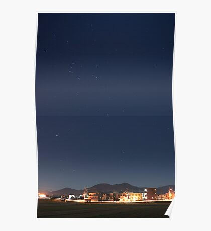 suburb of Fukuoka under the stars Poster