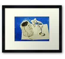 hessian vase and seed sprout in jar Framed Print