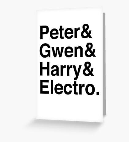 Peter & Gwen & Harry & Electro. Greeting Card