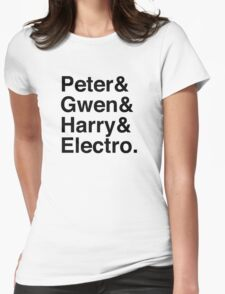 Peter & Gwen & Harry & Electro. Womens Fitted T-Shirt