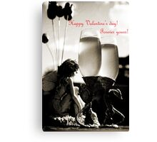 Happy Valentines day greeting card Canvas Print