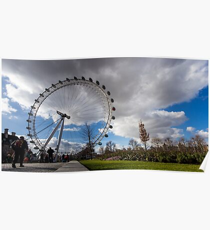 London Eye from the park in a sunny and cloudy day Poster