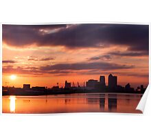 Canary Wharf and O2 Arena Sunset with reflection in the water Poster