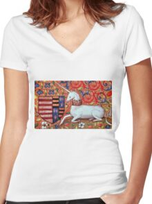 UNICORN WITH RED BLUE FLORAL MOTIFS Women's Fitted V-Neck T-Shirt