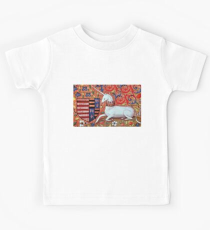 UNICORN WITH RED BLUE FLORAL MOTIFS Kids Tee
