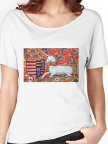 UNICORN WITH RED BLUE FLORAL MOTIFS Women's Relaxed Fit T-Shirt