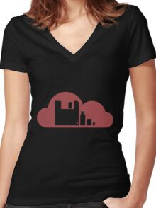Storage Comparisons - Vector Artwork Women's Fitted V-Neck T-Shirt