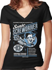 Sonic Screwdriver Ad Women's Fitted V-Neck T-Shirt