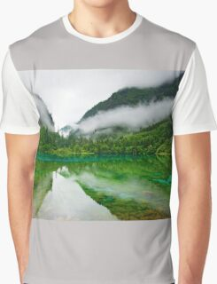 Misty Reflective Lake Surrounded By Hills Graphic T-Shirt