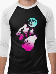 Three Wolves and a Moon Neon Men's Baseball ¾ T-Shirt