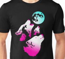 Three Wolves and a Moon Neon Unisex T-Shirt
