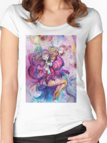 PINK MUSICAL CLOWN WITH OWL Women's Fitted Scoop T-Shirt