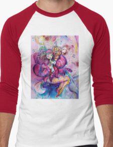 PINK MUSICAL CLOWN WITH OWL Men's Baseball ¾ T-Shirt