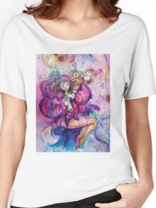 PINK MUSICAL CLOWN WITH OWL Women's Relaxed Fit T-Shirt