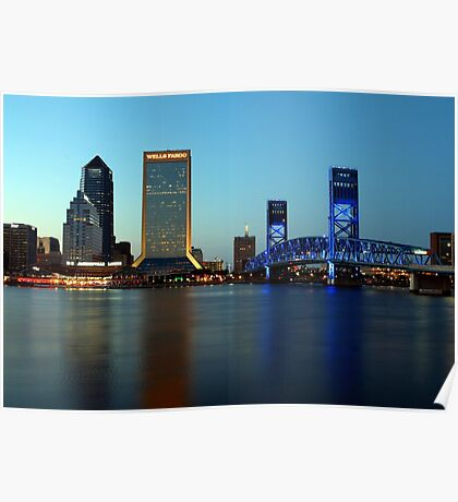 Jacksonville Skyline just before dusk Poster