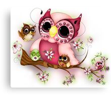 Under Her Wings - Mothers Day Owl Art Canvas Print