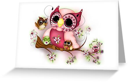 Under Her Wings - Mothers Day Owl Art by Concetta Kilmer