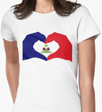 I Heart Haiti Patriot Flag Series Womens Fitted T-Shirt