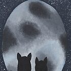Cats Gazing at the Full Moon  by Kelly Betts