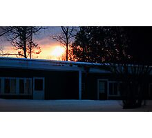 Sunset Behind Some Abandoned Apartments Photographic Print