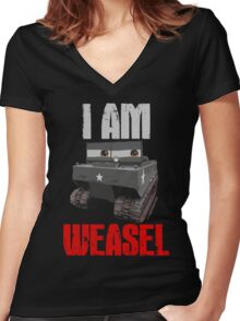 I Am Weasel Women's Fitted V-Neck T-Shirt