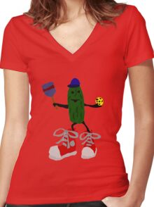 Funny Cool Pickleball Pickle with Red Sneakers Women's Fitted V-Neck T-Shirt