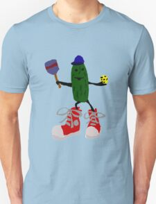Funny Cool Pickleball Pickle with Red Sneakers Unisex T-Shirt