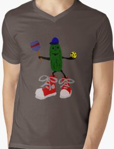 Funny Cool Pickleball Pickle with Red Sneakers Mens V-Neck T-Shirt