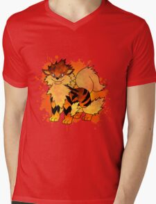 Arcanine - with background Mens V-Neck T-Shirt