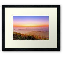 Sunrise at mountains in Hong Kong Framed Print