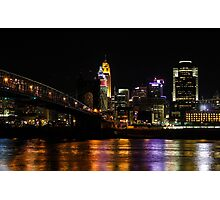 Cincinnati and the Roebling Suspension Bridge Photographic Print