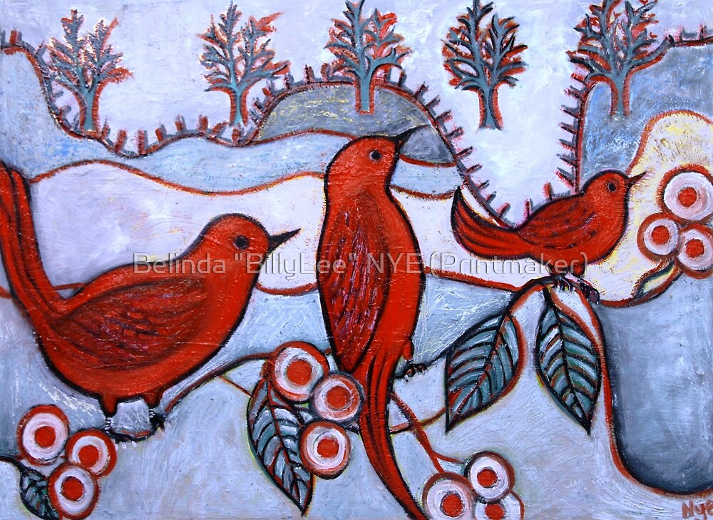 "Red Birds at the Lake by Belinda ""BillyLee"" NYE (Printmaker)"