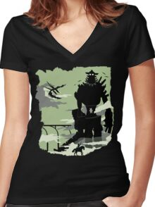 Silhouette of the Colossus Women's Fitted V-Neck T-Shirt