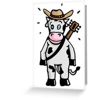 Cowboy Cow with Hat and Guitar Greeting Card