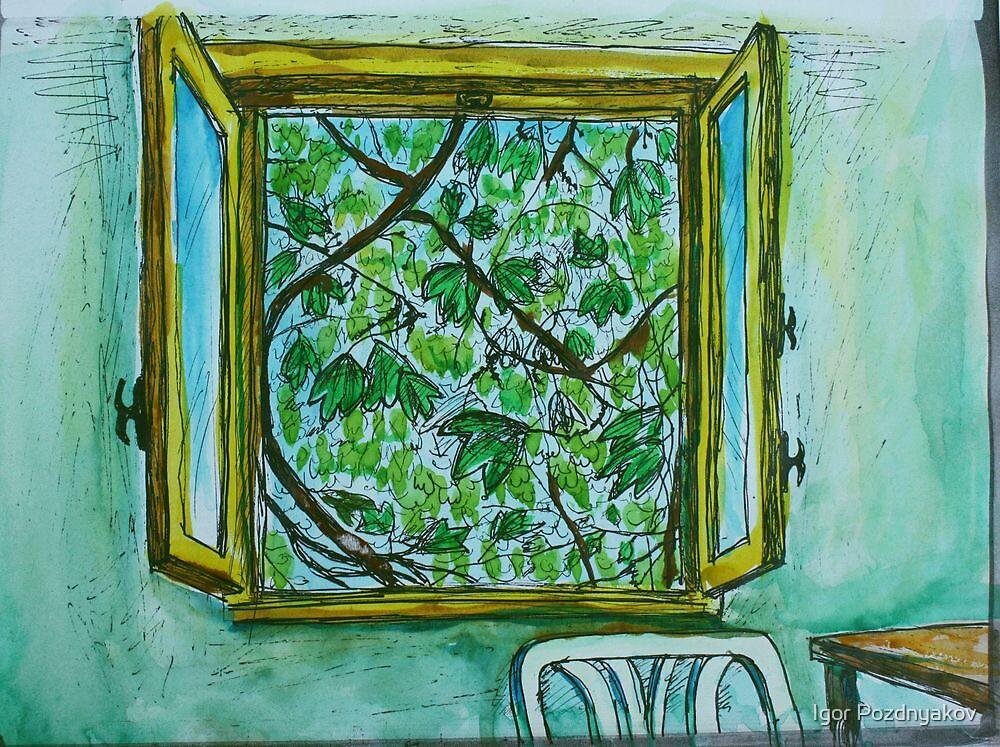 Watercolor Sketch - The Window to Summer. by Igor Pozdnyakov